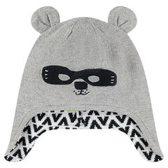Bonnet péruvien en tricot avec oreilles en relief et masque brodé