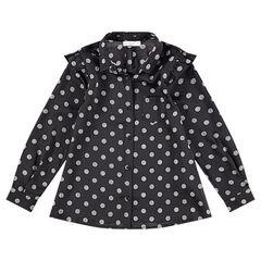 Hemd met lange mouwen van katoen met stippen en met zak