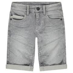 Jeansbermuda met used en crinkle-effect en zakken