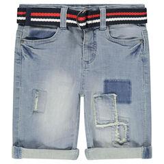 Bermuda en jeans effet used et crinkle avec ceinture amovible