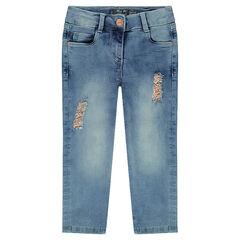 Capribroek van jeans met used-effect en scheuren, versierd met goudkleurige foil