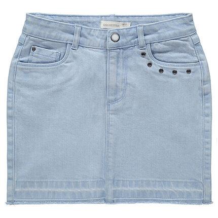Junior - Jupe en jeans effet used à oeillets fantaisie en métal