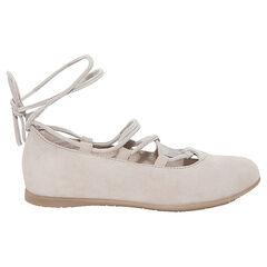 Ballerina's uit suede met vetersluiting