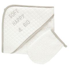 Bad set badcape washandje in sponskatoen