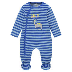 Gestreepte, fluwelen pyjama met dinosaurusbadge