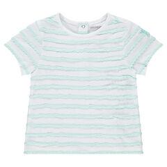 T-shirt met korte mouwen, strepen met reliëf en opgestikte ster