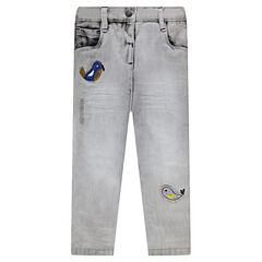 Jeans slim avec patchs oiseaux