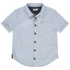 Chemise manches courtes à rayures verticales et touches de chambray