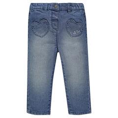 Jeansbroek bolvormigmodel met borduursel