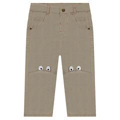 Pantalon en twill avec yeux printés