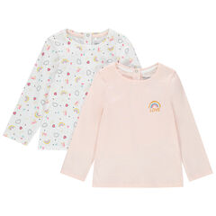 Lot de 2 t-shirts manches longues en coton bio uni / imprimé all-over