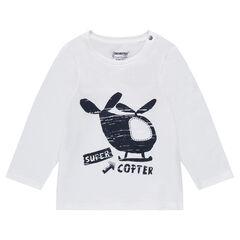T-shirt met lange mouwen van jerseystof met helikopterprint
