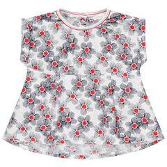 Tunique manches courtes à imprimé floral all-over