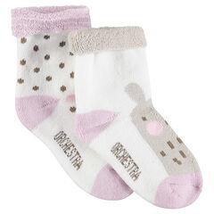 Set met 2 paar matching sokken met stippenprint en dier van jacquard