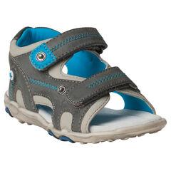 Kleurrijke sandalen uit twee materialen met klittenbandsluiting
