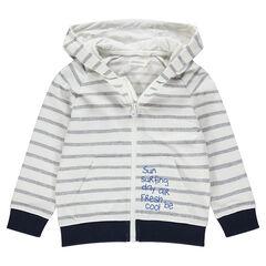 Vest met kap en ritssluiting van molton met print met opschriften