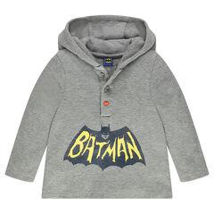 T-shirt met lange mouwen en kap met BATMAN print