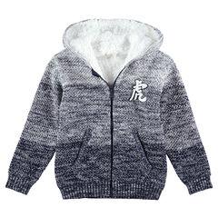 Junior - Vest met kap van gedraaide tricot met effect met kleurovergang en voering van sherpa