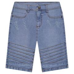 Junior - Bermuda van bleach jeans met sierstiksels