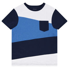 Tee-shirt manches courtes tricolore à poche