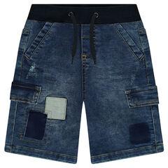 Bermuda en molleton effet used avec poches et patchs