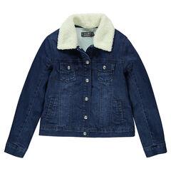 Veste en jeans doublée sherpa avec col en fausse fourrure amovible
