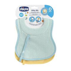 Lots 2 bavoirs d'allaitement et de succion en coton – Bleu/jaune