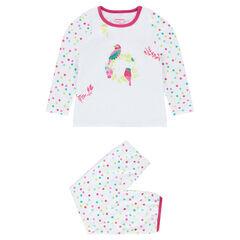 Pyjama en velours avec perroquets brodés