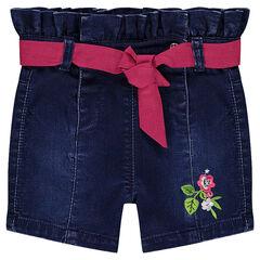 Short en molleton effet jeans used avec taille smockée et ruban contrasté
