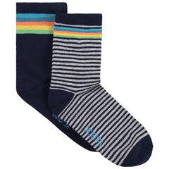 Set met 2 paar matching sokken met kleurrijke streepjes