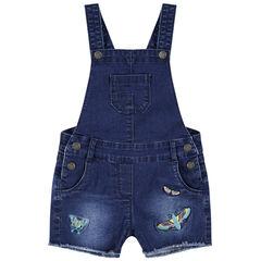 Salopette short en jeans effet used avec papillons brodés