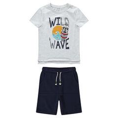 Junior - Pakje met T-shirt met etnische print en bermuda