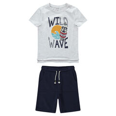 Junior - Ensemble avec t-shirt print tribal et bermuda