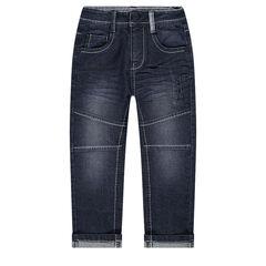 Jeans met used en crinkle-effect en 6 zakken