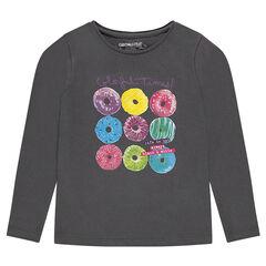 Effen t-shirt met lange mouwen en fantasieprint