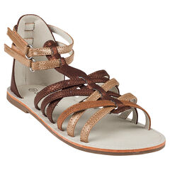 Open schoenen met lintjes met klittenbandsluiting in kastanjebruine en goudkleur