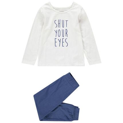 Pyjama met bovenstuk met print met boodschap en effen onderstuk