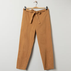 Pantalon de grossesse fluide moutarde taille basse , Prémaman