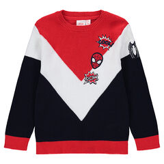 Pull en tricot tricolore avec badges brodés  ©Marvel Spiderman