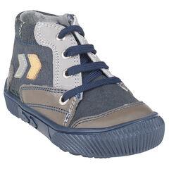 Boots in suedine veters met inzetstuk