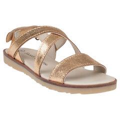 Open schoenen in leder met lintjes goudkleur