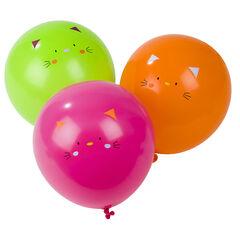 Lot de 10 ballons d'anniversaire gonflables motif chat
