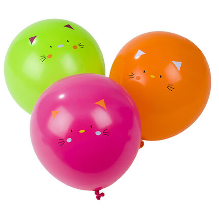 Set met 10 opblaasbare verjaardagsballonnen met kattenmotief