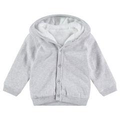 Vest van  grijs gemêleerde tricot met voering van sherpastof