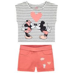 Ensemble avec short corail et t-shirt court print Mickey et Minnie Disney