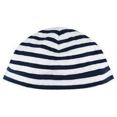 Bonnet en jersey à rayures contrastées