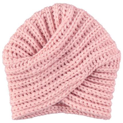 Bonnet esprit turban en maille épaisse