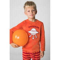 Pyjama van velours met geborduurde vliegende schotel