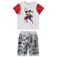 Ensemble avec t-shirt print Marvel Superman et bermuda imprimé logo all-over