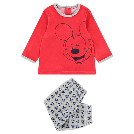 Pyjama en velours avec print Mickey Disney et bas all-over